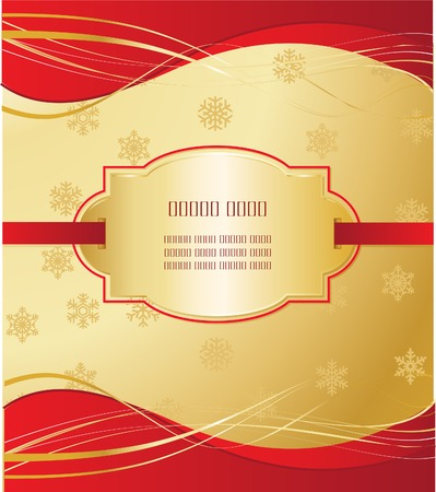 Golden Christmas background with place card and snowflakes  Vector
