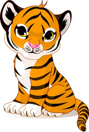 cubs: A cute character of sitting tiger cub.