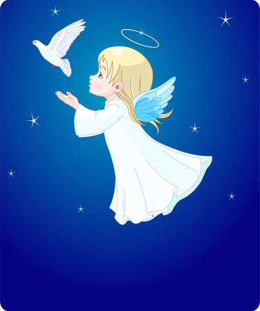 Cute little angel with dove -  place card.  Çizim