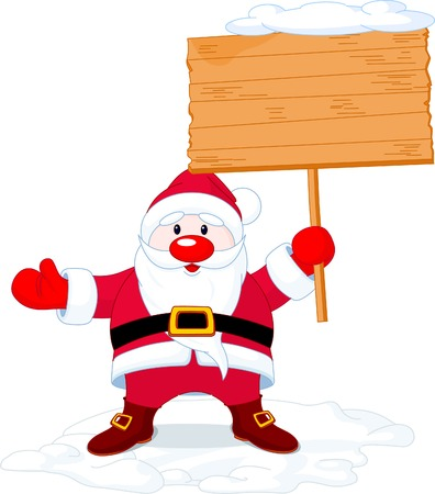 Illustration of  Santa Claus  holding a blank board sign Vector
