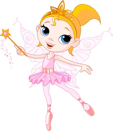 beautiful princess: Little Cute fairy ballerina with magic wand