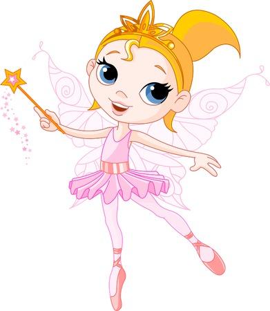 fee zauberstab: Wenig niedlich Fairy-Balletm�dchen mit Zauberstab Illustration