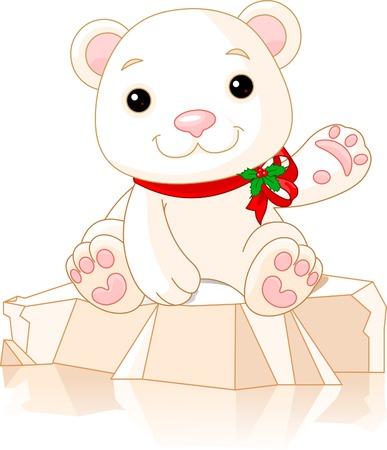 안녕, 아주 귀여운 북극곰 새끼 일러스트