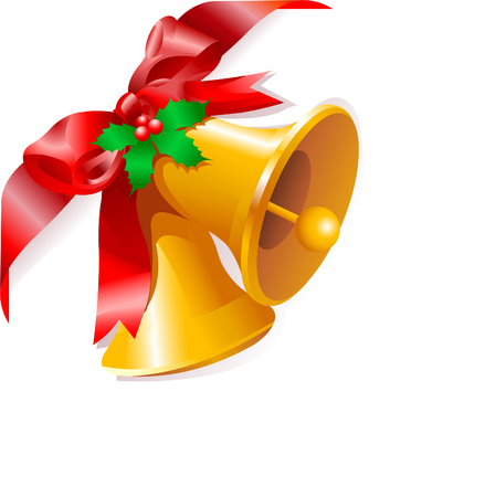 jingle bells: Page corner with Christmas bells. Place for copytext.