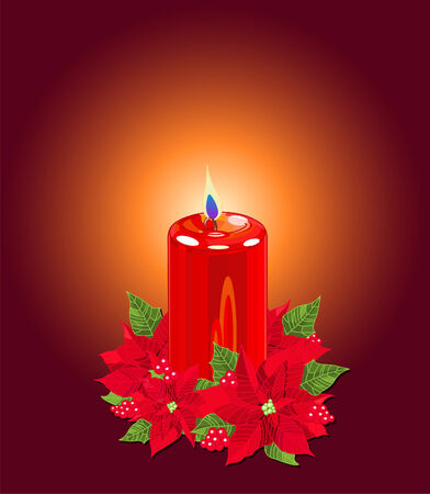 Red pillar candle surrounded by red poinsettias and berries on dark background Vector