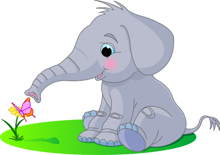 Cute baby elephant looks at the butterfly sitting on a flower Stock Illustratie