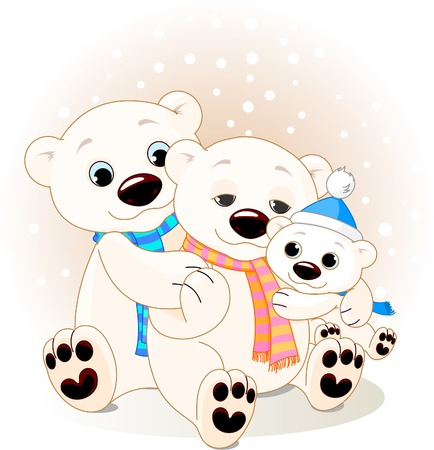 father frost: A Mommy and Daddy bear with their baby bear.