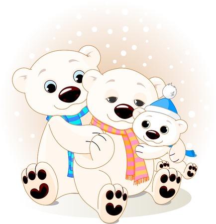 Un Mommy et le Papa porter avec leurs ours de bébé. Banque d'images - 5920688
