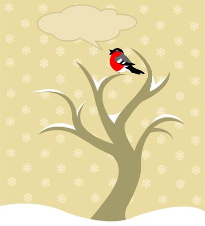 robin: Vector4 illustration of Winter tree with Robin bird chirping   Illustration