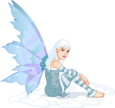 Beautiful winter fairy sitting in the snow