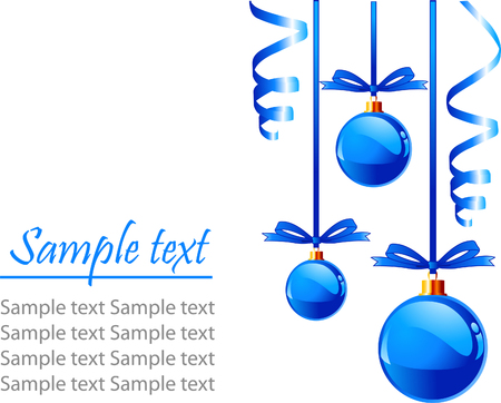 Christmas blue balls with bows colors, isolated over white background with place for copyspace