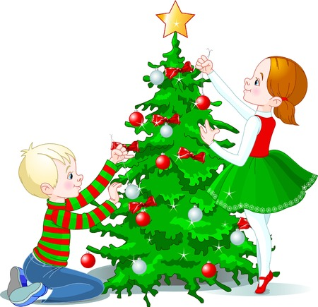 decorating christmas tree: Two cute children decorating a Christmas tree Illustration
