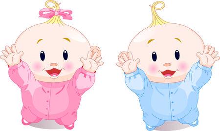 illustratie van mooie tweeling met hands up