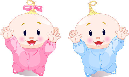 cute baby girls: illustration of lovely twins with hands up