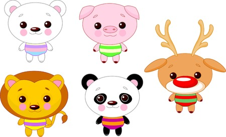 Cute funny baby animals set.  Vector