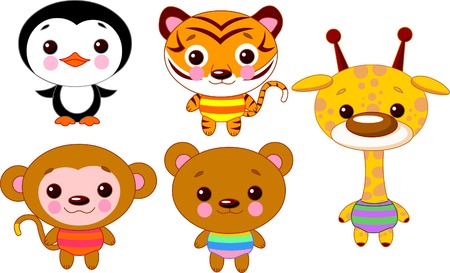 Cute funny baby animals set.  Vector
