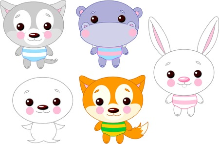 funny baby: Cute funny baby animals set.  Illustration