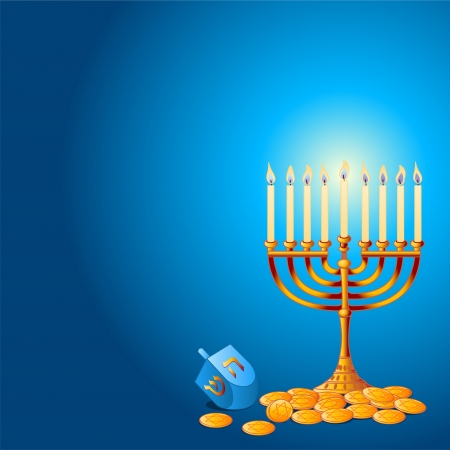Jewish festival of HanukkahChanukah Background, including Menorah, dreidlssevivot and Hanukkah Gelt Vector