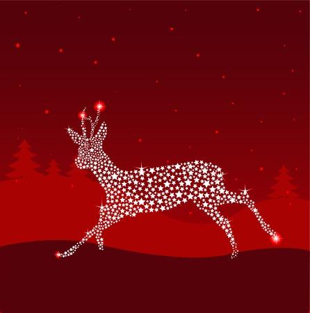 ciervo: Ejecuci�n de Navidad luminoso de ciervos.  Vectores
