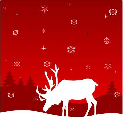 Winter night. Nature. Deer.  Vector