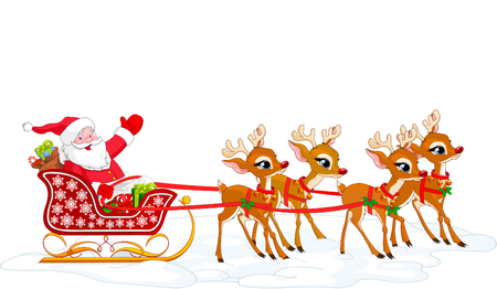 Cartoon illustration of Santa Claus in his sleigh. Layered file for easier editing.