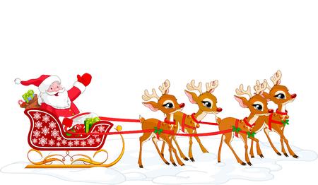 papa noel en trineo: Ilustraci�n de dibujos animados de Santa Claus en su trineo. Archivo con capas para facilitar la edici�n.