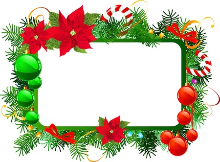 Christmas frame with Christmas decoration. Illustration