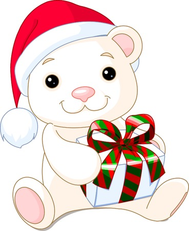 귀여운 크리스마스 테 디 베어 선물을합니다.