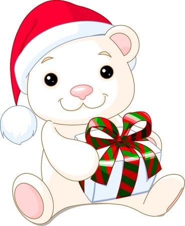Cute Christmas Teddy Bears with a gift.  Иллюстрация
