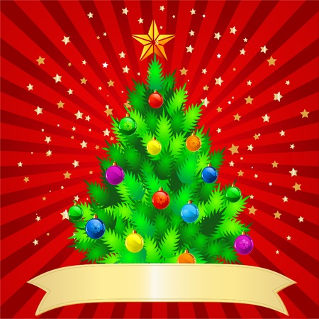 Sparkling Christmas Tree on red background with a place for copytext Vector