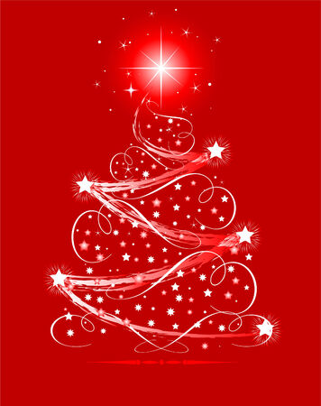 lighted: Christmas tree with shining decorations  on red background