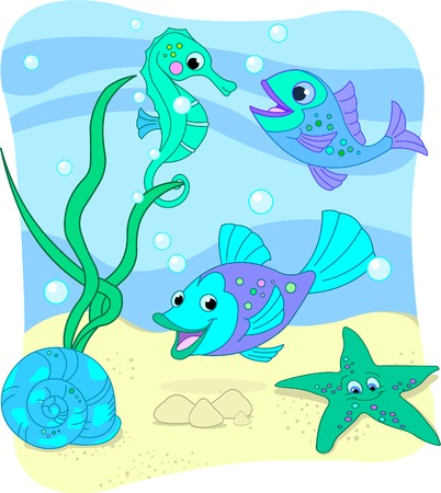 underwater fishes: Illustration of the sea depth  Illustration