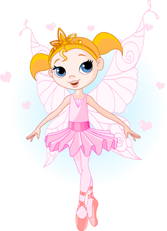 Little Cute fairy ballerina. Background and wings are separate groups.