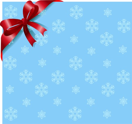 postcard background: Snowflakes background with red ribbon and bow. Place for copytext.