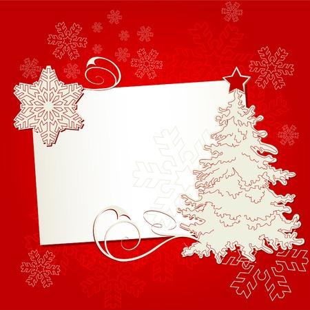 Carte de Noël avec arborescence et flocon de neige sur fond blanc cassé Banque d'images - 5964948