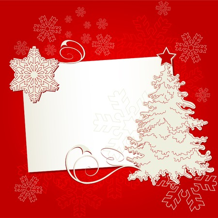 Christmas card with tree and snowflake on off-white background