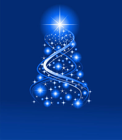 xmas background: Blue color Christmas background, vector illustration