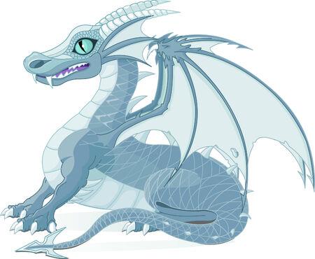 Vector illustratie van een fantasy ijs draak