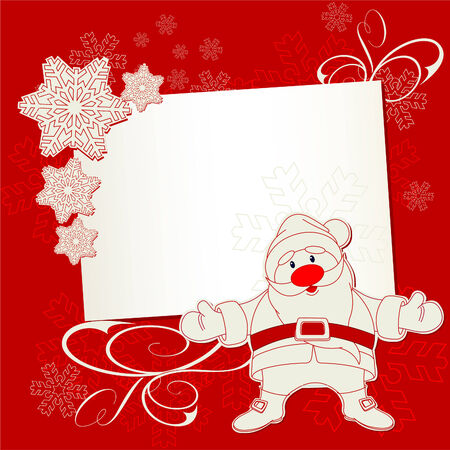 christmas greeting card: Christmas place card with Santa Claus and snowflakes on red background