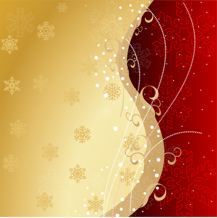 Background with snowflakes and decoration for your design in red and gold colors Vector
