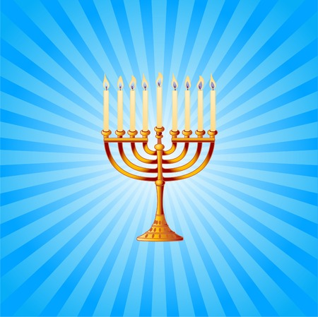 Blue and white radial  background with golden Menorah Vector