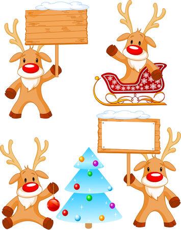 sled: Four separately grouped little Rudolphs. Vector illustration Illustration