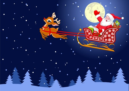 Vector background with  Santa Claus flying his sleigh through the night sky.  Layered file for easier editing.