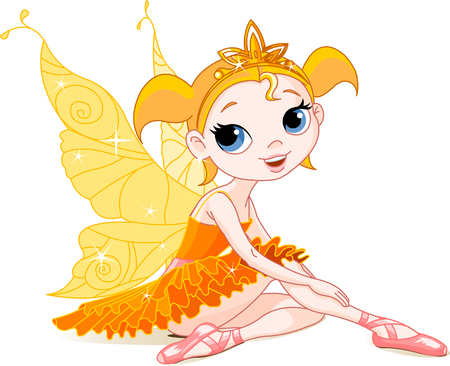 cute fairy: Little orange fairy ballerina sitting on a floor. All objects are separate groups