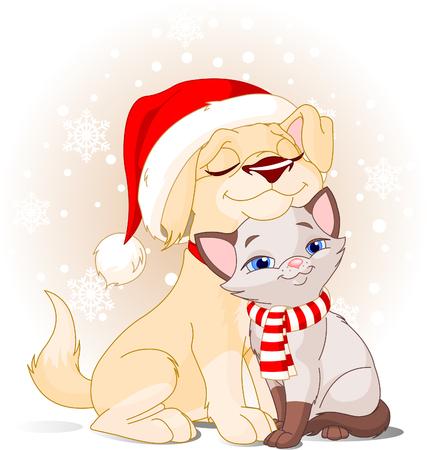 귀여운 강아지 산타의 모자와 고양이 스카프와 함께