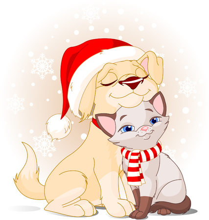 Cute Dog with Santa's hat and Cat with scarf