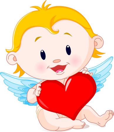 Vector illustration of Cartoon Cupid Angel holding heart Ilustrace
