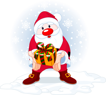 Cute Santa Claus giving a gift on snowing background Stock Vector - 5987637