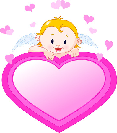 Cute Cupid with a place or invite heart shape card  Vectores