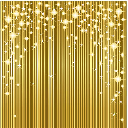 Gold Christmas background with stars and stripes Vettoriali